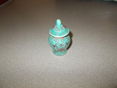 Small vintage Chinese porcelain turquoise blue hand decorated vase jar pre owned