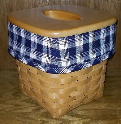 Tall Tissue Basket Liner from Longaberger J.W. Plaid fabric! New!