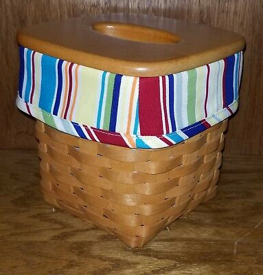 Tall Tissue Basket Liner from Longaberger Sunny Day Stripe fabric! New!