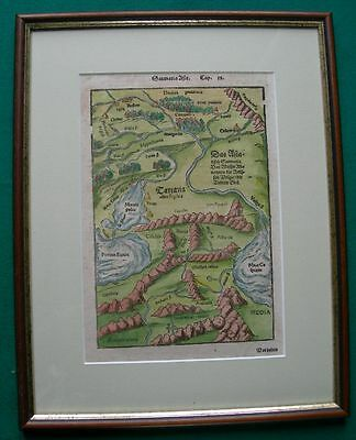 16th Century Map over 450 years old Woodcut By Sebastian Munster-Volga,Colchis