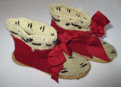 Antique Vintage Pair Of Babys Childs Shoes Slippers Red Bows Adorable