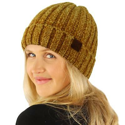 CC WINTER SOFT Chenille Chunky Knit Stretchy Warm Ribbed Beanie Hat ... 517b537c9497