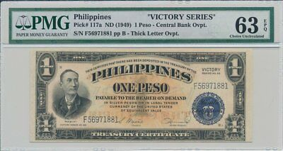 Central Bank Philippines  1 Peso ND(1949) Victory Series PMG  63EPQ