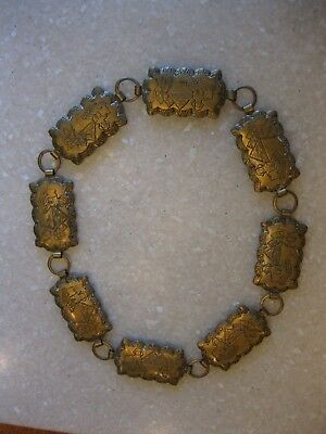 Older Vintage Egyptian Revival Brass Repurposed Necklace Sphinx Pyramids
