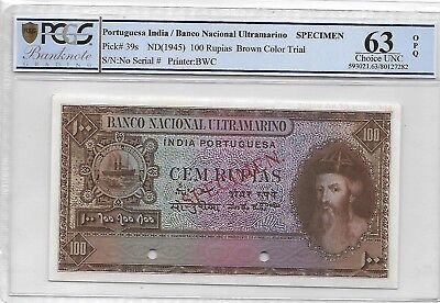Portuguese India / BNU - 100 Rupias, nd (1945). Color Trial Specimen. PCGS 63OPQ