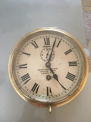Vintage Kelvin White & Hutton Ship Bulkhead Brass Clock