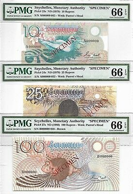 Seychelles, Monewtary Authority - 1 set in 3 pcs. ND (1979 & 1980) Sp. PMG 66EPQ