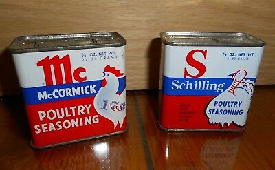 #1 OLD Advertising Spice Tins Great Graphics Schilling McCormick Chicken Turkey