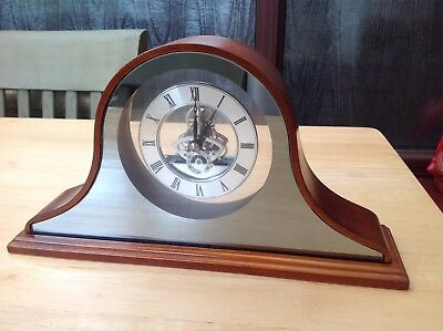 Lovely Mirrored Glass And Wood Mantel Clock