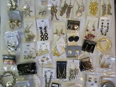 Joblot 60 Pairs Of Fancy Earrings. No Repeats. Brand New With Tags.