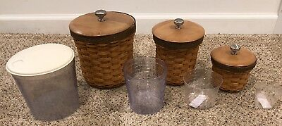 Set of 3 LONGABERGER CANISTER SET W SEALED PROTECTORS & WOODCRAFTS LIDS