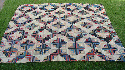 """late 19th C cotton Log Cabin quilt, 79"""" x 73"""", no reserve  *"""