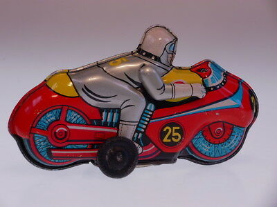 """GSMOTO NEW PENNY TOYS """" RACER 25"""" T.T.Japan, 11cm, WIND UP, SEHR GUT/VERY GOOD"""