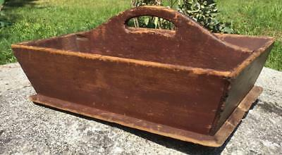 Antique Primitive Old Original Red Paint Wood Handle Cutlery/knife Tray Carrier
