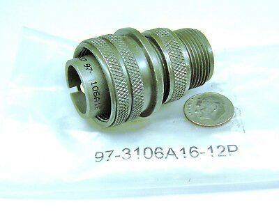 Amphenol Industrial 97-3106A16-12P Nos Cable Plug Connector Shell 1 #4 Pin 16-12