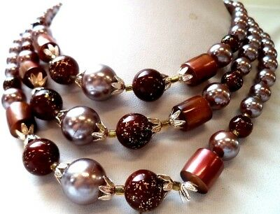 """Stunning Vintage Estate Signed Japan Brown Faux Pearl Beaded 18"""" Necklace! 1481W"""