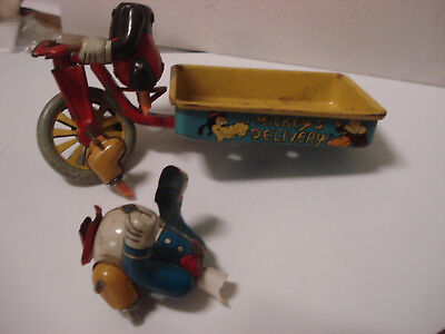 Vintage 1950's Line Mar Toy Japan Disney Tin Mickey Mouse Delivery Cart Tricycle