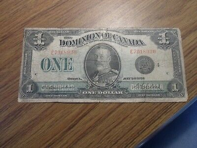 1923 Dominion Of Canada 1$ Large Size Paper Money