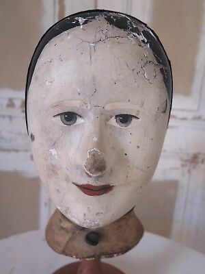 ANTIQUE french 1830 MAROTTE Milliners Head Mannequin Head Chapeau SHABBY
