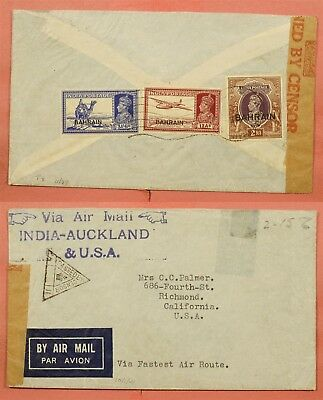 1941 Bahrain India Overprints Airmail To Auckland To Usa Wwii Censor