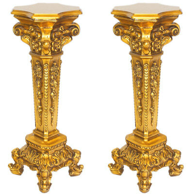 SÄULEN PAAR, ANTIQUE-FINISH golden pair of PEDESTALS, COLUMNS, 2-er SET PODESTE