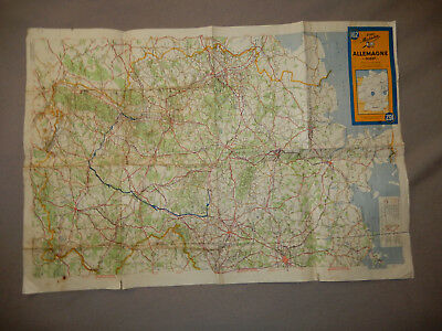 ORIGINAL 1944 MICHELIN US ARMY BATTLE ROAD MAP, ALLEMAGNE FRANCE 1cm/10km SCALE
