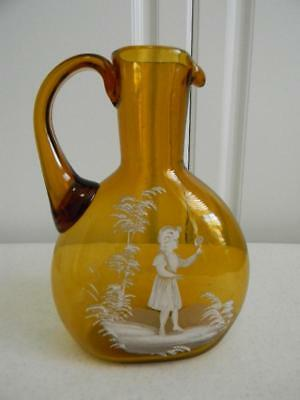 Scarce Vintage Mary Gregory Hand Painted Jug Pitcher~Girl Holding Flower~NR!
