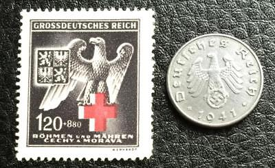 Rare WW2 German 5 Reichspfennig Coin and Unused Stamp Authentic WW2 Artifacts