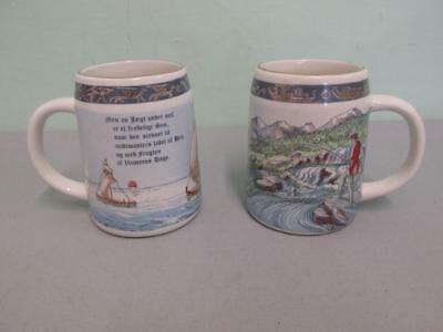 "Pair Of Norge Pa Langs Jonas Hirna 4"" Decorative Gilt Mugs/Small Tankards"