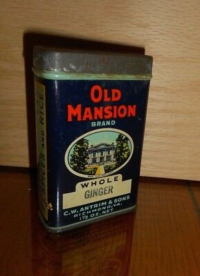 #11 OLD Advertising Spice Tins Graphics OLD MANSION House Cardboard NICE