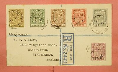 1927 Mauritius Port Louis Cancel Registered To England