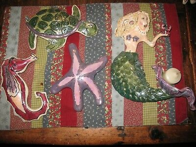 5 Heather Goldminc 2000 Blue Sky Clayworks   Fish Hanging Wall Plaques