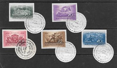 HUNGARY - 1936.  Recapture of Buda Anniv - Set of 5 each on piece with FD Cancel