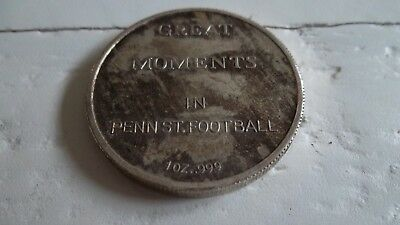 1986 .999 Sterling Silver Penn State V Miami Football Coin Medal Nat'l Champions