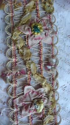 EXQUISITE MORCEAU ANTIQUE FRENCH SILK RIBBON WORK PASSEMENTERIE TRIM c1850