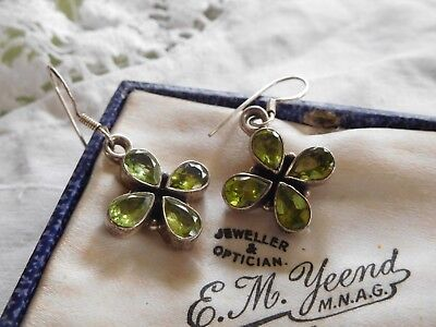 Dazzling Vintage 1980s Sterling Silver Peridot Earrings