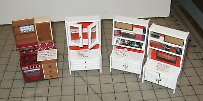 4 LUNDBY Loose Dollhouse Furniture/Appliance - Hutch, 2 Book Cases & Red Oven