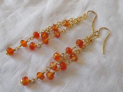 Cascading vintage 1980s Genuine Carnelian Drop Earrings sterling silver gilt