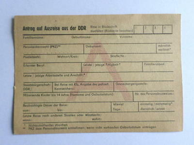 Formular DDR Ausreise , Request for travel out from the GDR East german Document