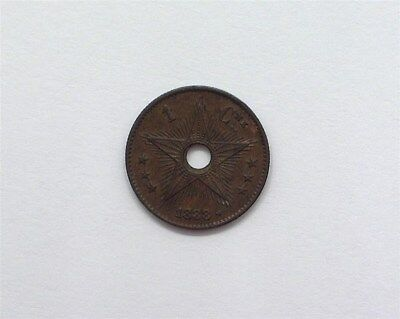 Congo Free State 1888 Centime Near Choice Uncirculated Km#1