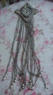 DELICIEUX ANTIQUE FRENCH GLASS BEAD & PEARL FLAPPER DRESS APPLIQUE 1920s
