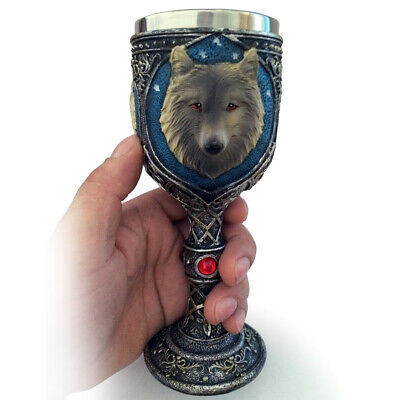Unique Novelty Resin Stainless Steel 3D Wolf Goblet Mug Beer Wine Cup Gift D7C7