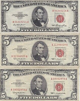Kappyswholesale  Id11325 Three  $5.00 Red Seal Us Notes Circulated Mixed Series
