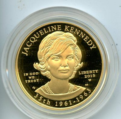 2015 First Spouse Gold Proof Jacqueline Kennedy Coin w/CoA 1/2oz .9999 Fine AU