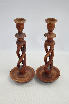 Pair of Vintage Hand Carved YEW WOOD Candlesticks - A29