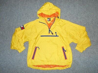 Tommy Hilfiger Vintage 90's Mens Small Yellow Pullover Hooded Jacket          K8