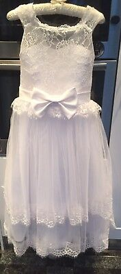 First Holy Communion Bridesmaid White Dress Lace Bow Pretty Age 8-10  Stunning