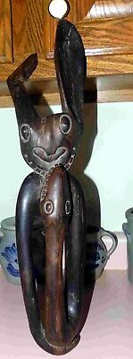 "Vintage African Wood Ebony Carving Sculpture 17""  Demon-Snake 2 Heads 1 Body"