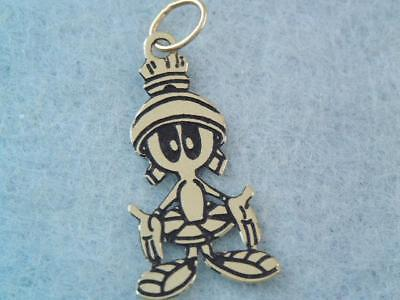 Vintage 14K Gold Marvin The Martian Looney Tunes Charm Pendant Warner Bros