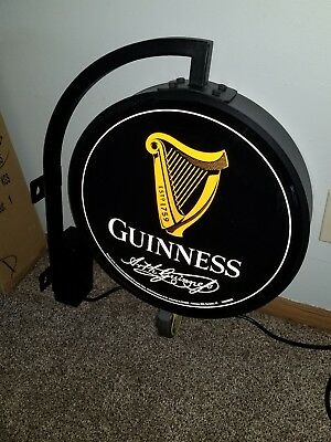 (L@@k) Guinness Beer Double Sided Light Up Pub Sign Bar Game Room Brand New Rare